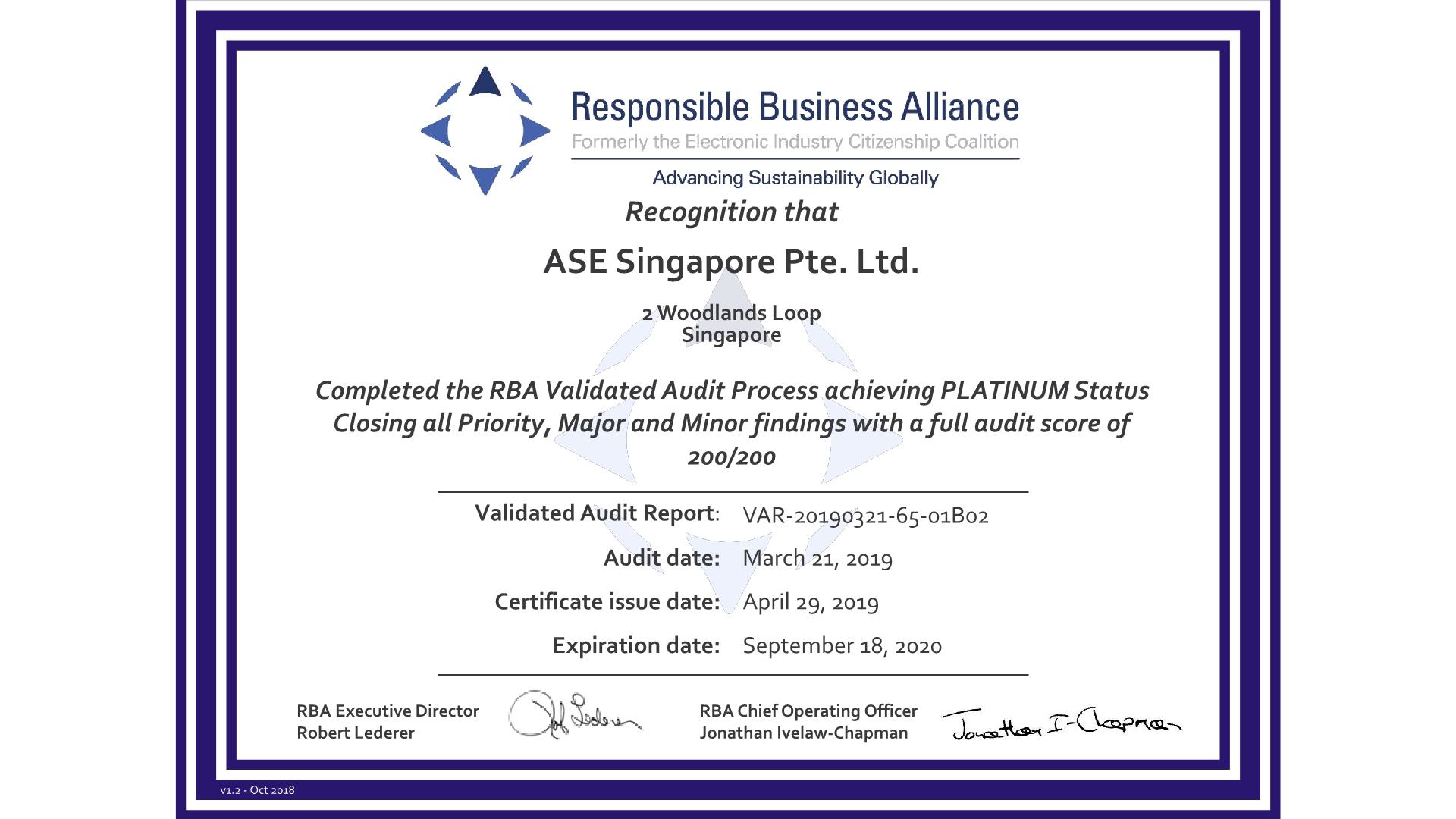 certification certificate singapore rba ase